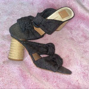 Dolce Vita Jene Fabric Wicker Sandal Heels Knot